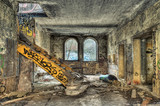 Strange yellow painted stairway in an abandoned coal mine