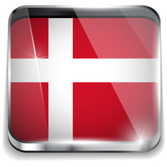 Denmark Flag Smartphone Application Square Buttons