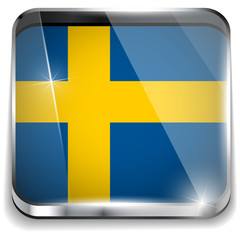 Sweden Flag Smartphone Application Square Buttons