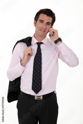 relaxed businessman on the phone