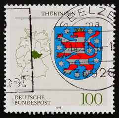 Postage stamp Germany 1994 Coat of Arms of Thuringia