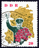 Postage stamp GDR 1963 Yuri Gagarin and map of DDR