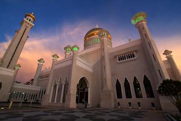 Sunset at Omar Ali Saifuddin Mosque in Bandar Seri Begawan