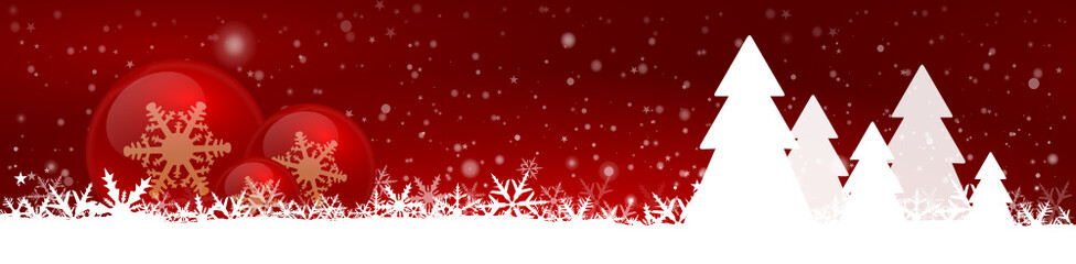 Red Christmas Background Panorama