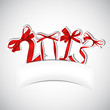 New year 2013 red ribbons greeting card