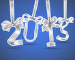 New year 2013 silver ribbons greeting card