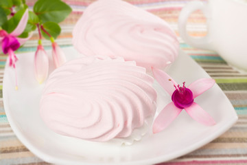 pink marshmallows on a plate