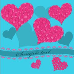 Pink hearts on a blue background