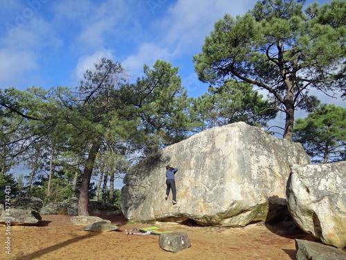 Escalade en forêt de Fontainebleau (site du Rocher Fin)