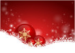 Red Christmas Background with bubbles and snow