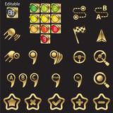 Set of navigational icons golden line