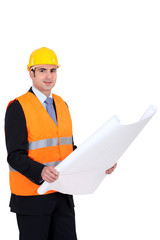 Architect wearing safety jacket