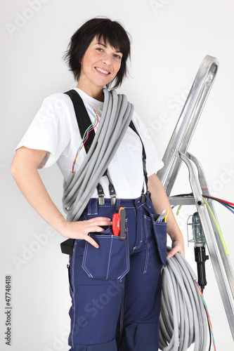 Woman holding corrugated tubing