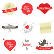 Set of Valentine's Day red labels and badges