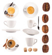 Coffee objects collection, isolated on white background