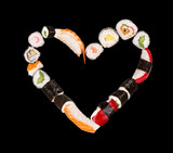 Pieces of sushi in heart shape, isolated on black background