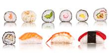 Sushi Stücke Sammlung, isoliert auf weißem Hintergrund