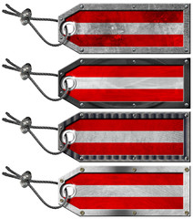 Austria Flags Set of Grunge Metal Tags
