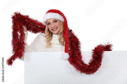 Woman getting into the Christmas spirit