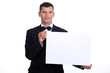 Waitor holding a blank menu