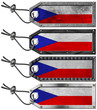 Czech Republic Flags Set of Grunge Metal Tags