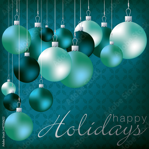 Bright group of baubles card in vector format.