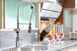 canvas print picture - Professional single lever faucet in modern kitchen