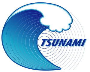 Tsunami. Giant wave crest, ocean earthquake epicenter, text.