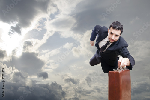 Flying businessman,