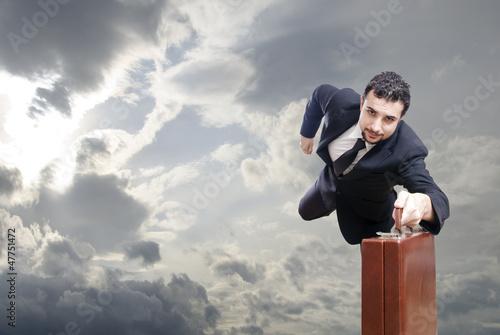Flying businessman,