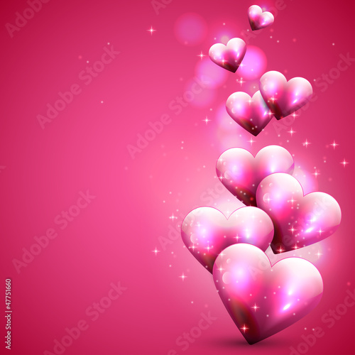 Pink background with flying hearts