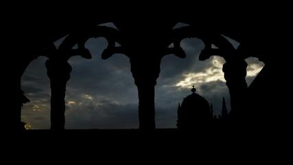 Portugal Mosteiro dos Jeronimos window sunset clouds