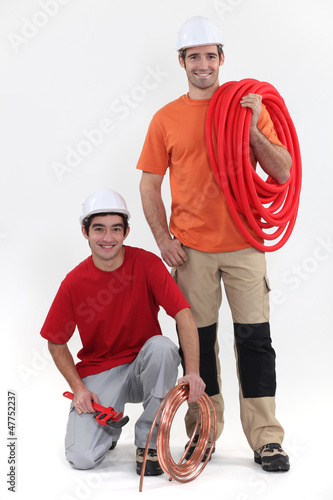 duo of cheerful plumbers