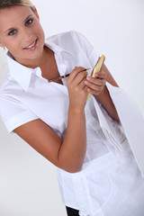Blond waitress with note pad