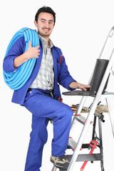 plumber on stepladder