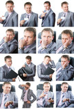 Business theme: Collage of portrait of  handsome  business man