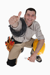 Tradesman giving the thumb's up