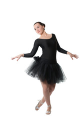 beautiful woman ballet dancer standing pose on isolated