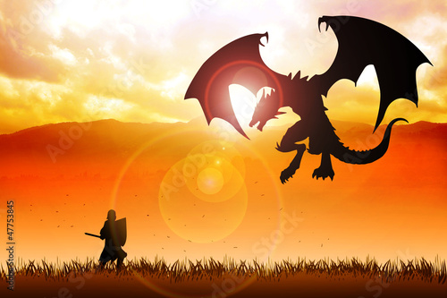 Tuinposter Draken Silhouette illustration of a knight fighting a dragon