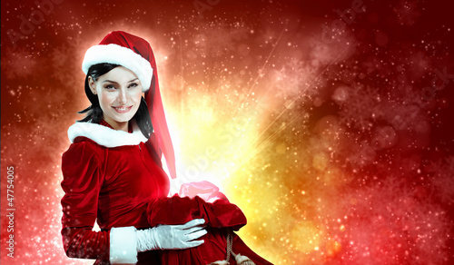 beautiful girl in santa costume