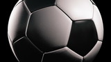 Soccer ball, Rotation on black background, loop