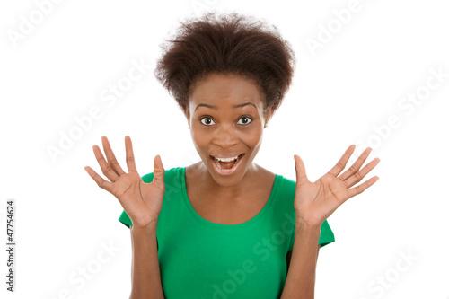 Witzige junge Afrikanerin ist überrascht