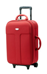 A convenient red luggage with three handles