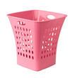 Pink color empty plastic basket for laundry or storage something