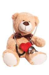 Teddy bear with stethoscope