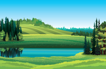 Summer landscape with lake and forest