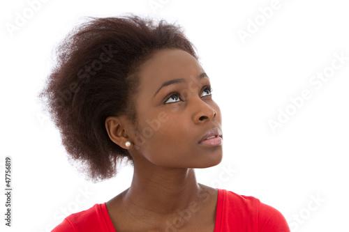 Gesicht einer Farbigen isoliert