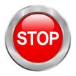 Bouton rouge stop avec contour métallique