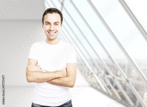 man in T-shirt in room