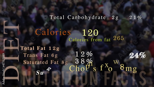 Nutrition facts, animation, people in background